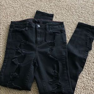 Black ripped skinny jeans size 7